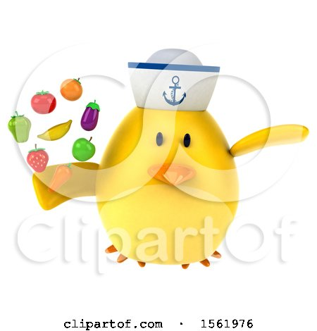 Clipart of a 3d Yellow Bird Sailor Holding Produce, on a White Background - Royalty Free Illustration by Julos