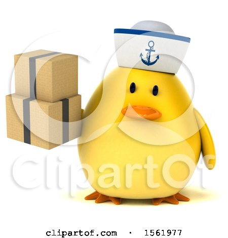 Clipart of a 3d Yellow Bird Sailor Holding Boxes, on a White Background - Royalty Free Illustration by Julos