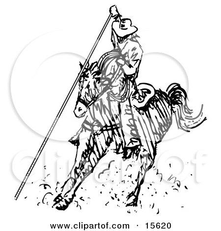 Cowboy On Horseback Roping Something Clipart Illustration