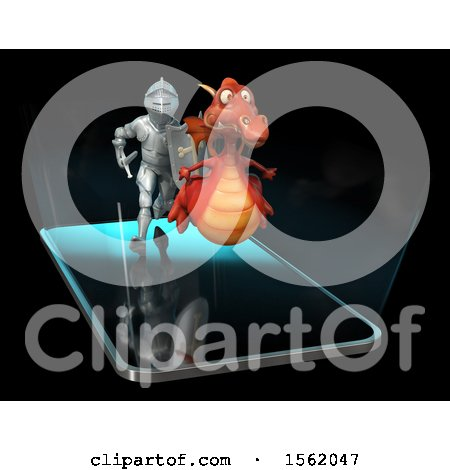 Clipart of a 3d Knight Chasing a Dragon over a Smart Phone Screen - Royalty Free Illustration by Julos