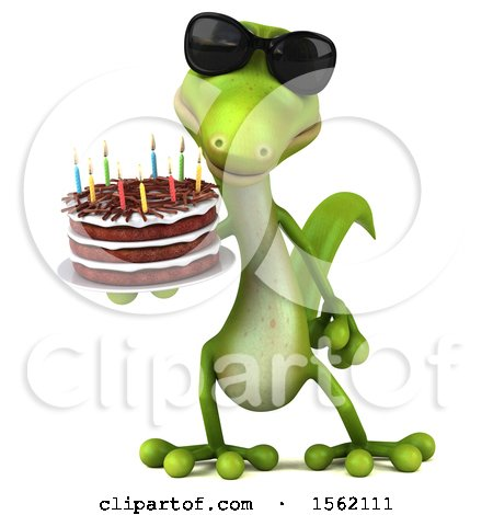Clipart of a 3d Green Gecko Holding a Birthday Cake, on a White Background - Royalty Free Vector Illustration by Julos