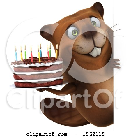 Clipart of a 3d Beaver Holding a Birthday Cake, on a White Background - Royalty Free Illustration by Julos