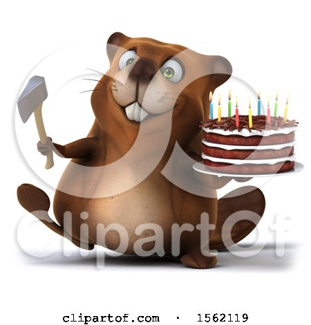 Clipart of a 3d Beaver Holding an Axe and Birthday Cake, on a White Background - Royalty Free Illustration by Julos