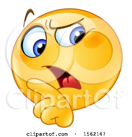 Clipart of a Yellow Emoji Smiley Rebuking - Royalty Free Vector Illustration by yayayoyo