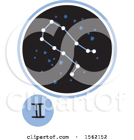 Clipart of a Star Constellation and Gemini Zodiac Symbol - Royalty Free Vector Illustration by NL shop
