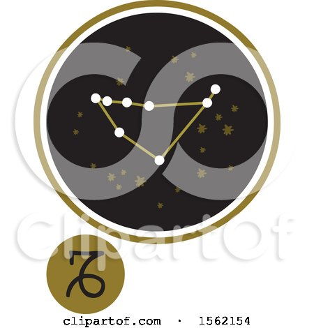 Clipart of a Star Constellation and Capricorn Zodiac Symbol - Royalty Free Vector Illustration by NL shop