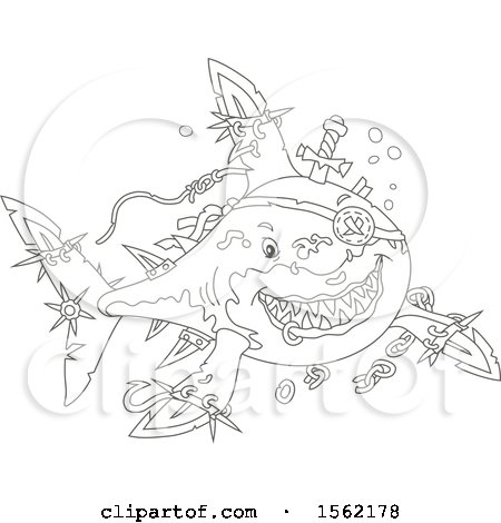 Clipart of a Lineart Pirate Shark with Blade Extensions - Royalty Free Vector Illustration by Alex Bannykh