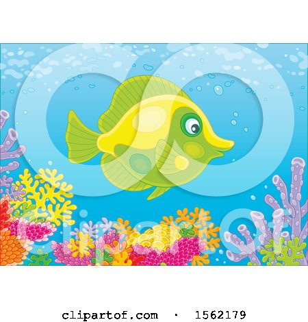 Clipart of a Butterfly Fish over a Reef - Royalty Free Vector Illustration by Alex Bannykh