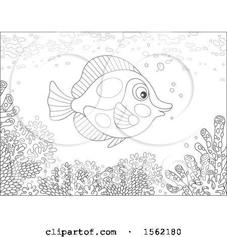 Clipart of a Lineart Butterfly Fish over a Reef - Royalty Free Vector Illustration by Alex Bannykh