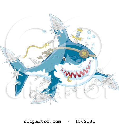 Clipart of a Shark Pirate with Blade Extensions - Royalty Free Vector Illustration by Alex Bannykh