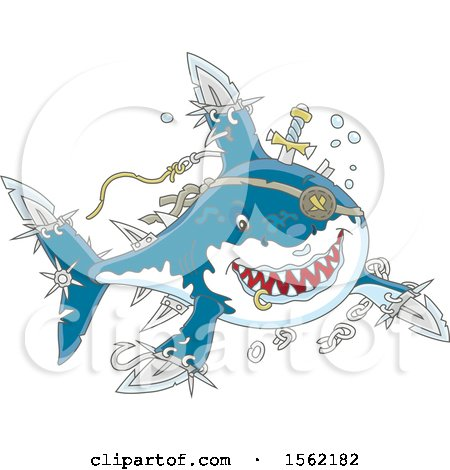 Clipart of a Tough Pirate Shark with Blade Extensions - Royalty Free Vector Illustration by Alex Bannykh