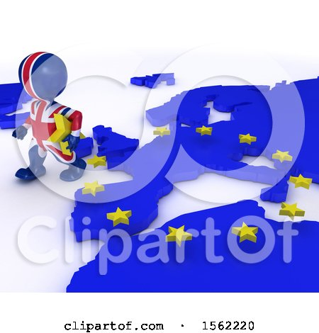 Clipart of a 3d Union Jack Flag EU Referendum Man Walking Away from a Map, on a White Background - Royalty Free Illustration by KJ Pargeter