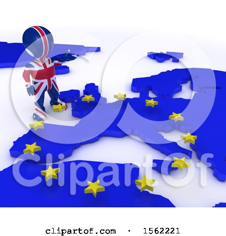 Clipart of a 3d Union Jack Flag EU Referendum Man over a Map, on a White Background - Royalty Free Illustration by KJ Pargeter