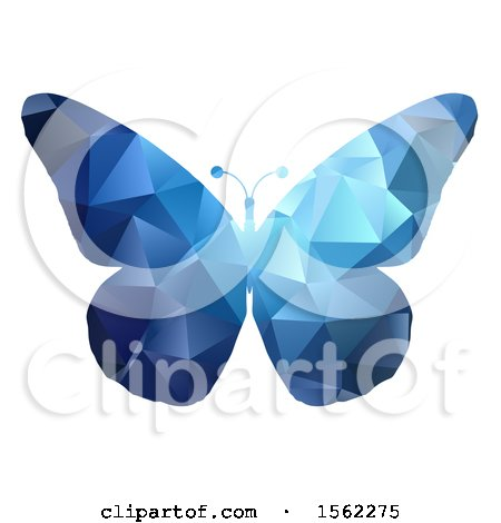 Clipart of a Blue Geometric Butterfly - Royalty Free Vector Illustration by KJ Pargeter