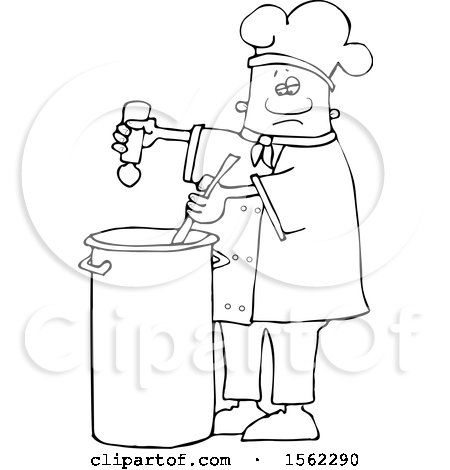 Clipart of a Lineart Black Male Chef Seasoning Soup with a Salt Shaker - Royalty Free Vector Illustration by djart