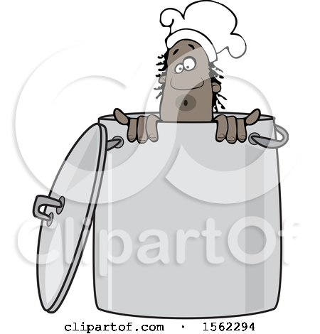 Clipart of a Black Male Chef Peeking out from Inside a Stock Pot - Royalty Free Vector Illustration by djart