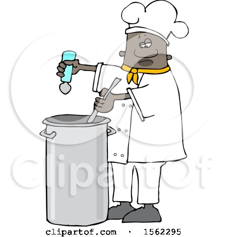 Clipart of a Black Male Chef Seasoning Soup with a Salt Shaker - Royalty Free Vector Illustration by djart