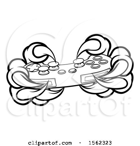 Clipart of Black and White Monster Claws Playing with a Video Game Controller - Royalty Free Vector Illustration by AtStockIllustration