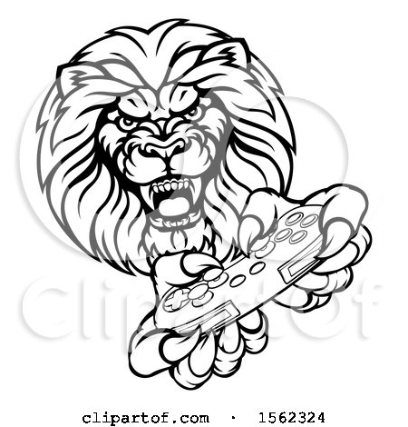 Clipart of a Black and White Male Lion Holding a Video Game Controller - Royalty Free Vector Illustration by AtStockIllustration