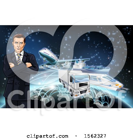 Clipart of a Business Man over a Globe with Cargo Logistics Trains, Planes, Big Rig Trucks, and Ships with Illuminated Paths over Stars - Royalty Free Vector Illustration by AtStockIllustration