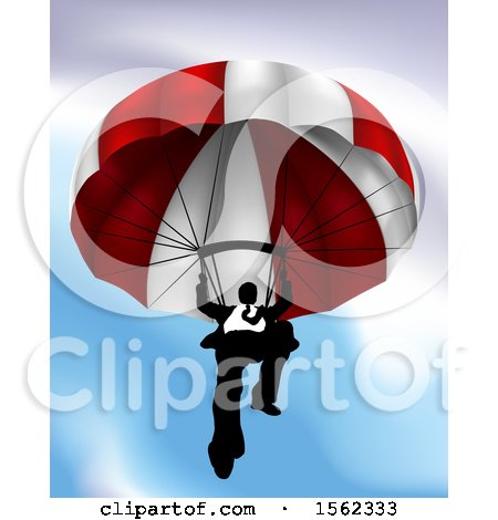 Clipart of a Business Man Parachuting - Royalty Free Vector Illustration by AtStockIllustration