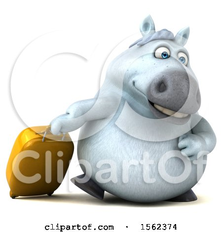 Clipart of a 3d Chubby White Horse with Luggage, on a White Background - Royalty Free Illustration by Julos