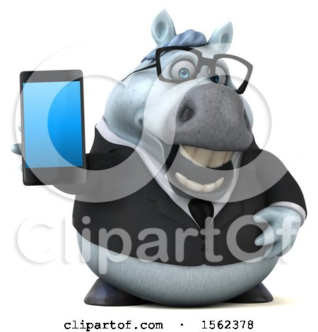Clipart of a 3d Chubby White Business Horse Holding a Smart Phone, on a White Background - Royalty Free Illustration by Julos