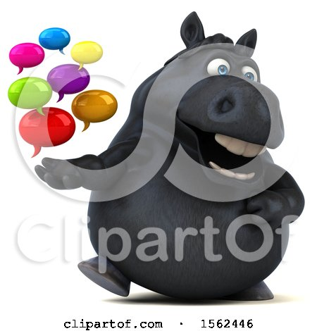 Clipart of a 3d Chubby Black Horse Holding Messages, on a White Background - Royalty Free Illustration by Julos