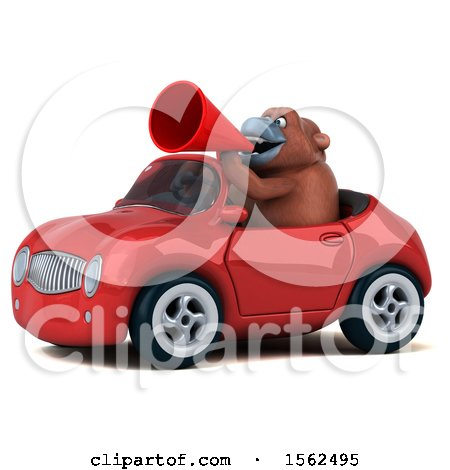 Clipart of a 3d Orangutan Monkey Driving a Convertible, on a White Background - Royalty Free Illustration by Julos