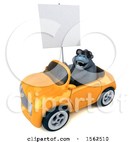 Clipart of a 3d Gorilla Mascot Driving a Convertible, on a White Background - Royalty Free Illustration by Julos