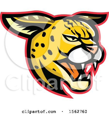 Clipart of a Growling Serval Wild Cat Mascot Head - Royalty Free Vector Illustration by patrimonio