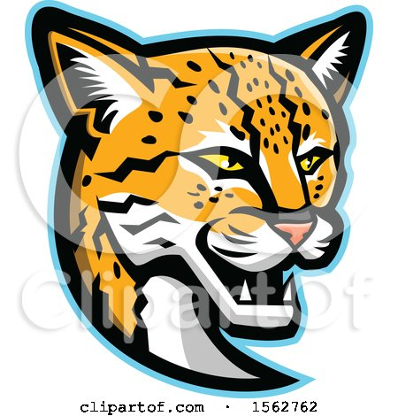 Clipart of a Margay Cat Mascot Head - Royalty Free Vector Illustration by patrimonio