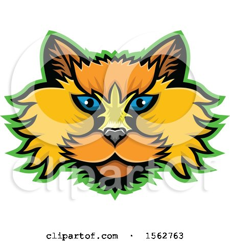 Clipart of a Selkirk Rex Cat Mascot Head Outlined in Green - Royalty Free Vector Illustration by patrimonio