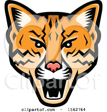 Clipart of an Angry Ocelot Cat Mascot Head - Royalty Free Vector Illustration by patrimonio