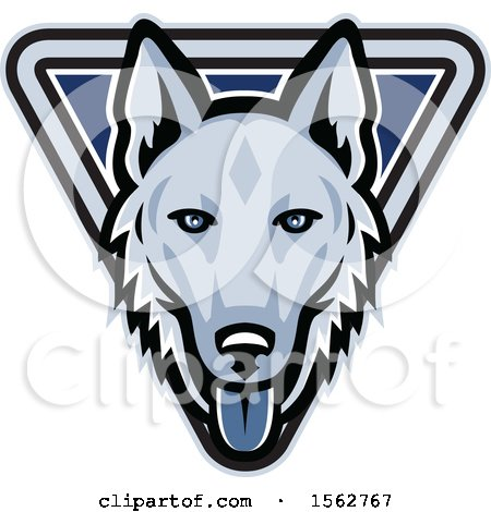Clipart of a German Shepherd Dog Mascot Head in a Triangle - Royalty Free Vector Illustration by patrimonio
