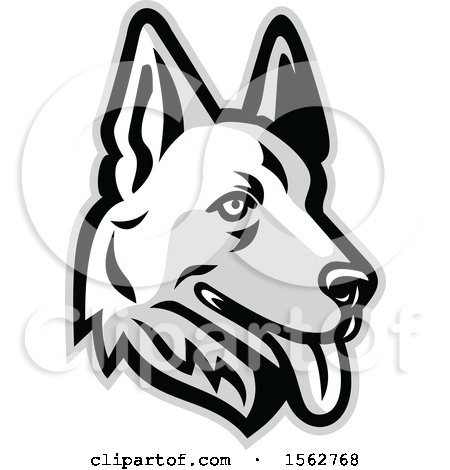 Clipart of a White German Shepherd Dog Mascot Head - Royalty Free Vector Illustration by patrimonio