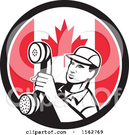 Clipart of a Retro Telephone Repair Man Holding out a Receiver in a Canadian Flag Circle - Royalty Free Vector Illustration by patrimonio