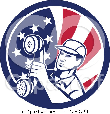 Clipart of a Retro Telephone Repair Man Holding out a Receiver in an American Flag Circle - Royalty Free Vector Illustration by patrimonio