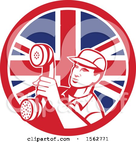 Retro Telephone Repair Man Holding out a Receiver in a Union Jack Flag Circle Posters, Art Prints