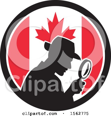 Clipart of a Retro Silhouetted Detective Using a Magnifying Glass in a Canadian Flag Circle - Royalty Free Vector Illustration by patrimonio