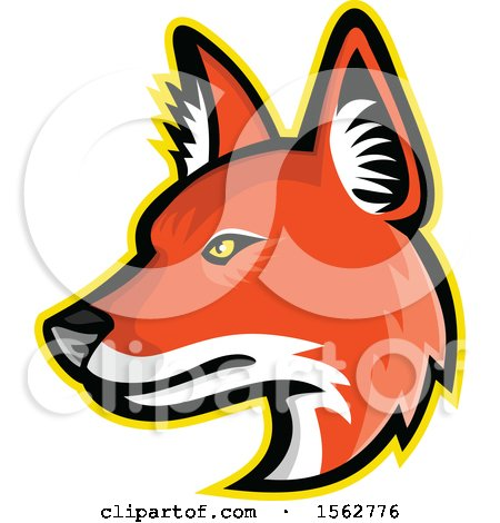 Clipart of a Dhole Asiatic Wild Dog Mascot Head Facing Left - Royalty Free Vector Illustration by patrimonio