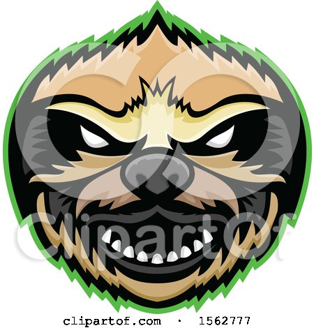 Clipart of a Tough Sloth Mascot Head Outlined in Green - Royalty Free Vector Illustration by patrimonio