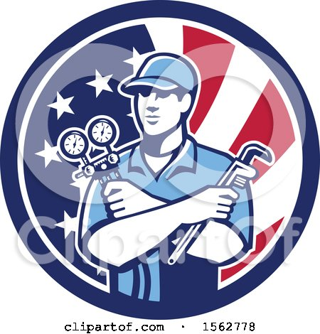 Clipart of a Retro Refrigeration Mechanic, Air Conditioning or Air Con Serviceman Holding Manifold Gauge in an American Flag Circle - Royalty Free Vector Illustration by patrimonio
