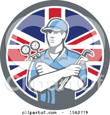 Clipart of a Retro Refrigeration Mechanic, Air Conditioning or Air Con Serviceman Holding Manifold Gauge in a Union Jack Flag Circle - Royalty Free Vector Illustration by patrimonio