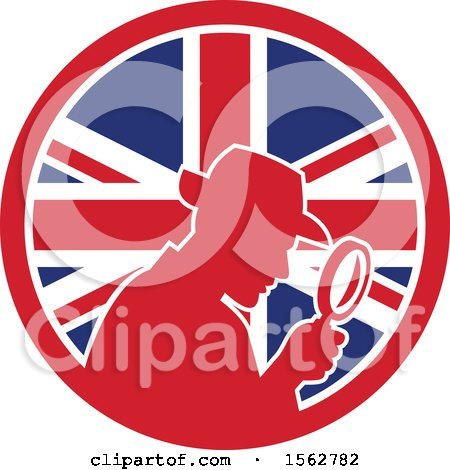 Clipart of a Retro Silhouetted Detective Using a Magnifying Glass in a Union Jack Flag Circle - Royalty Free Vector Illustration by patrimonio