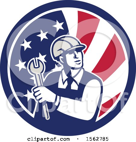 Clipart of a Retro Mechanical Engineer Holding a Spanner Wrench in an American Flag - Royalty Free Vector Illustration by patrimonio