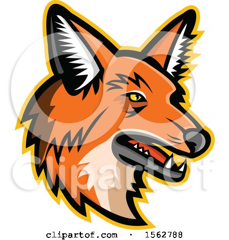 Clipart of a Maned Wolf Mascot Head Facing Right - Royalty Free Vector Illustration by patrimonio