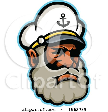 Clipart of a Black Skipper or Sea Captain Mascot Head - Royalty Free Vector Illustration by patrimonio