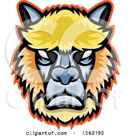 Clipart of a Tough Alpaca or Llama Mascot Head - Royalty Free Vector Illustration by patrimonio