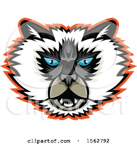 Clipart of a Himalayan Cat Mascot Head - Royalty Free Vector Illustration by patrimonio